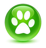 Animal footprint icon glassy green round button Royalty Free Stock Images