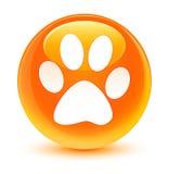 Animal footprint icon glassy orange round button Stock Photos