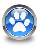 Animal footprint icon glossy blue round button Royalty Free Stock Image