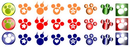 Animal footprint icons Royalty Free Stock Photos