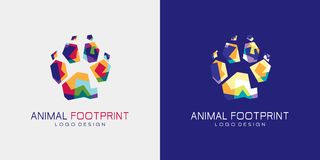 Animal footprint logo. This style art name is wpap. Make use stright line and many colors combination stock illustration
