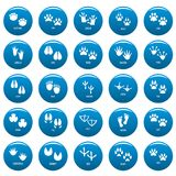 Animal footprint vector icons set blue, simple style. Animal footprint icons set blue. Simple illustration of 25 animal footprint vector icons for web Stock Images