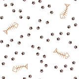 Animal footprints and fish bones seamless background Stock Image