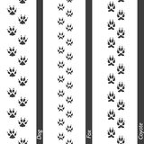 Animal footprints seamless border set