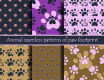 Animal footprints. Vector. Vector colour illustrationsith animal footprints. Vector seamless pattern set with cat or dog footprints. Can be used for wallpaper Royalty Free Stock Images