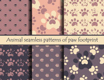 Animal footprints. Vector. Vector grunde illustrationsith animal footprints. Vector seamless pattern set with cat or dog footprints. Can be used for wallpaper Royalty Free Stock Images