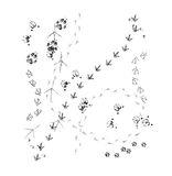 Animal footprints. On white. Sketch effect Stock Photography