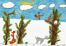 Animal in forest. Child's bright drawing. Animal in forest royalty free stock photos