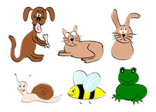 Animal friends. Colorful drawing of six cute animals (vector vector illustration