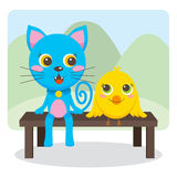 Animal Friends Forever. Blue cat and Yellow bird friends sit on a park bench together smiling and talking Stock Image