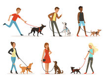 Animal friendship. Happy people walking with funny dogs. Illustrations in cartoon style. Dog and man, happy dogs with people Stock Image