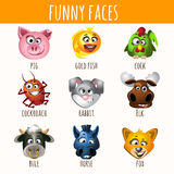 Animal funny faces, set of nine character Royalty Free Stock Image