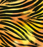 Animal fur background. zebra stripe abstract exotic fur watercolor hand drawn background. watercolor illustration Stock Image