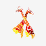 Animal giraffe  africa illustration safari mammal cute afr Stock Images