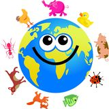 Animal globe. Happy cartoon world globe surrounded by animals Stock Photo