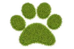 Animal green grass footprint, 3D rendering Royalty Free Stock Image