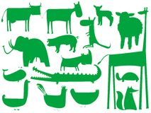 Animal green silhouettes on white Stock Photography