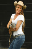 Animal handler. With Asian water monitor lizard royalty free stock images
