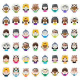 Animal hat avatars Stock Photo