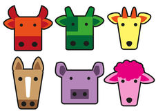 Animal head cartoon rectangle 01 Royalty Free Stock Photography