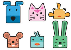 Animal head cartoon rectangle 02 vector illustration
