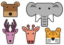 Animal head cartoon rectangle 03 Stock Images