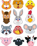 Animal head cartoon set Stock Photos