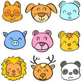 Animal head colorful head doodles Stock Images