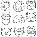 Animal head cute funny doodles Royalty Free Stock Images