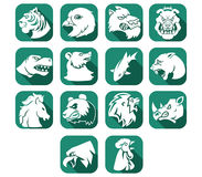 Animal Head Flat Icon Button Stock Images