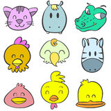 Animal head funny cute doodles Stock Images