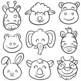 Animal head hand draw doodles Stock Photos