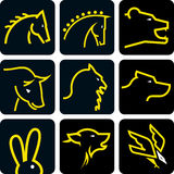 Animal head icon set Royalty Free Stock Image