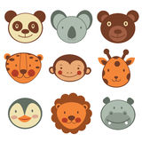 Animal head icons collection Royalty Free Stock Photo