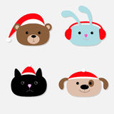 Animal head set. Cartoon bear, rabbit, cat, dog in santa claus hat, earphones. Flat design. Stock Image