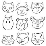 Animal head style hand draw doodles Royalty Free Stock Photography
