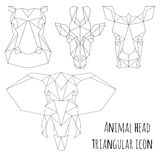 Animal head triangular icon-geometric line design stock illustration