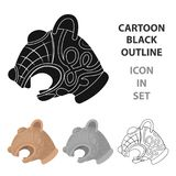 Animal head of viking`s ship icon in cartoon style isolated  Stock Images