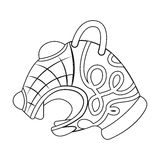 Animal head of viking s ship icon in outline style isolated on white background.  Stock Image