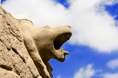 Animal head on a wall in Parc Guell Royalty Free Stock Photos