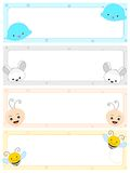 Animal headers. Cute and colorful animals web site header / banner collection on white Stock Photos