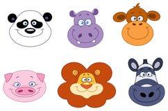 Animal heads. Cartoon collection of animal heads Stock Photography
