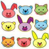 Animal Heads. Illustration of colorful whimsical animal heads Stock Images