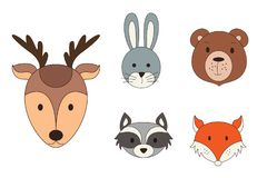 Animal heads in cartoon style. Woodland vector illustration.  Royalty Free Stock Images