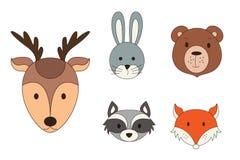 Animal heads in cartoon style. Woodland vector illustration.  royalty free illustration
