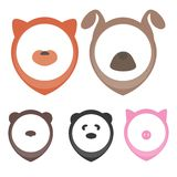 Animal heads for pointing on map: dog, cat, pig, bear, panda. Icon animals for pointers on the map Royalty Free Stock Images