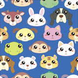 Animal heads seamless pattern. Adorable animals head in cartoon style Royalty Free Stock Photo