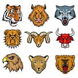 Animal heads set. Including bengal tiger, wild boar, wolf, bulldog, ram, bull, eagle, leopard, grizzly bear Royalty Free Stock Photo