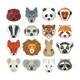 Animal Heads Set Royalty Free Stock Photography