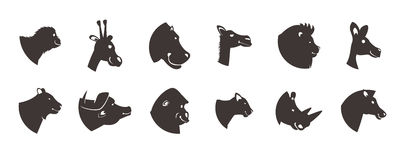 Animal Heads Silhouette Set Royalty Free Stock Images
